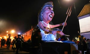 Effigies of contemporary political figures are commonly burned in Lewes