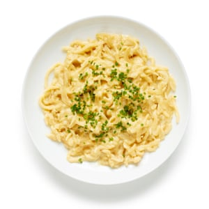 Perfect spätzle, with cheese and chives.