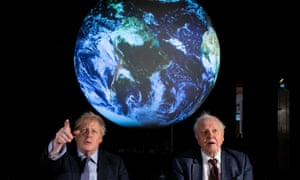 Boris Johnson and Sir David Attenborough at the launch of the next Cop26 climate summit last month