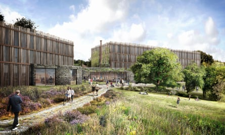Artist's impression of proposed new Eden Project hotel, Cornwall, UK