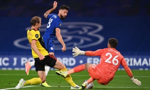 Watford keeper Ben Foster saves from Olivier Giroud of Chelsea.