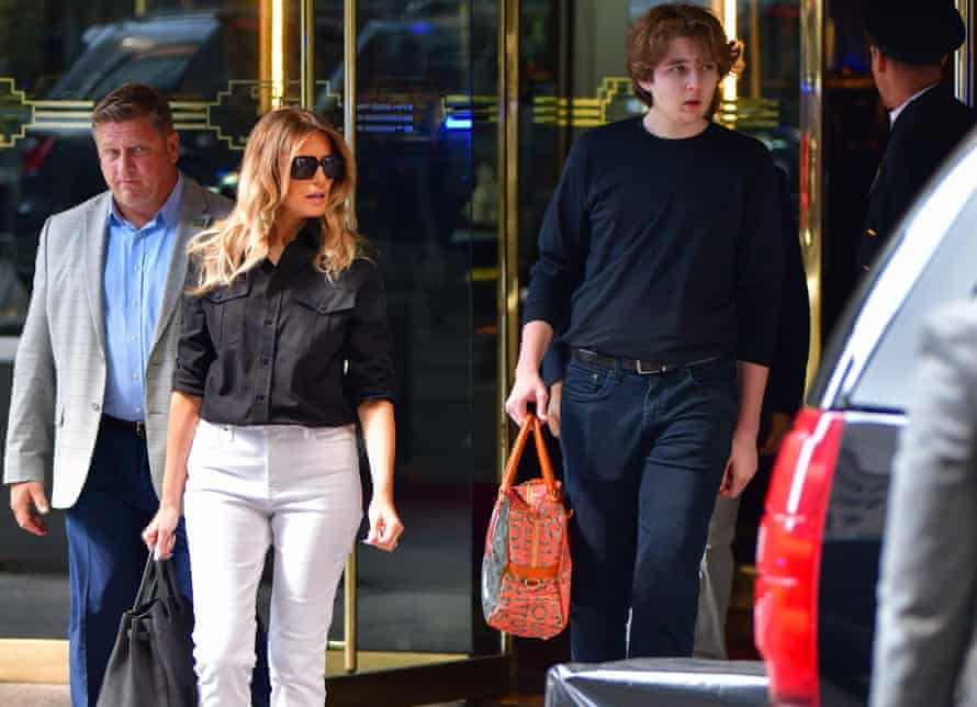 Former first lady Melania Trump and her son Barron Trump leave Trump Tower in Manhattan on 07 July 2021.