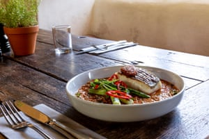 Somerset Cod with gently curried quinoa dal.