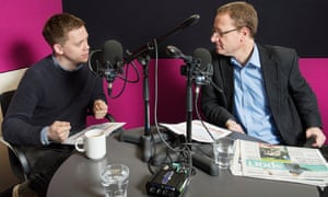 The Guardian's Owen Jones and Jonathan Freedland record a politics podcast.