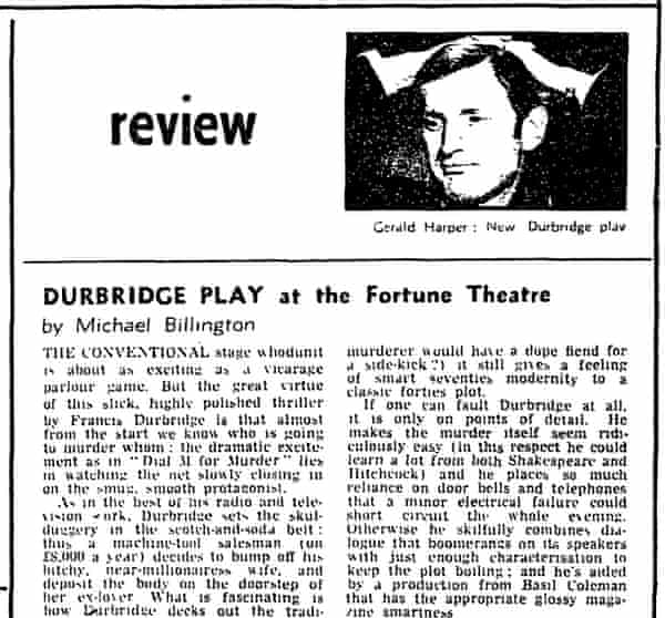 Michael Billington's first review for the Guardian, from 2 October 1971
