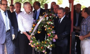 Photo posted on the Facebook page of the Embassy of Palestine in Tunisia, in October 2014, of Jeremy Corbyn's visit to the Cemetery of the Martyrs of Palestine, Tunis.