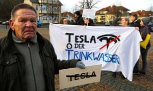 An anti-Tesla protest in Grünheide.
