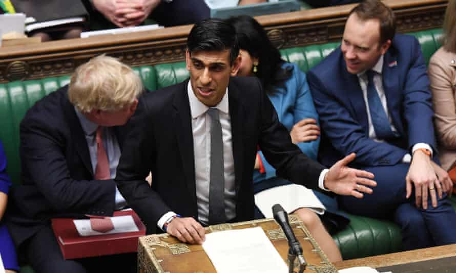 The chancellor, Rishi Sunak, delivers his budget speech.