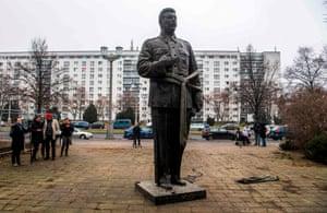 Berlin, Germany: A statue of Joseph Stalin stands on Berlin's Karl-Marx-Allee