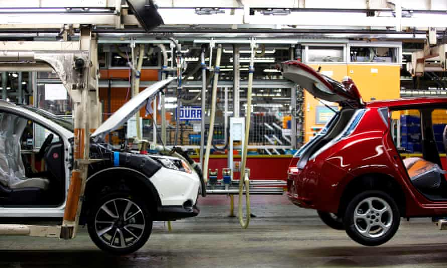 Nissan Qashqais on the production line at the company's Sunderland plant.