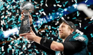 Nick Foles with the Vince Lombardi Trophy.