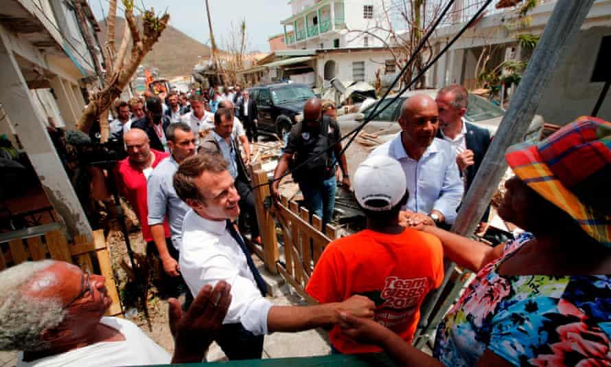 Emmanuel Macron greets residents of Saint Martin after its devastation by Hurricane Irma.