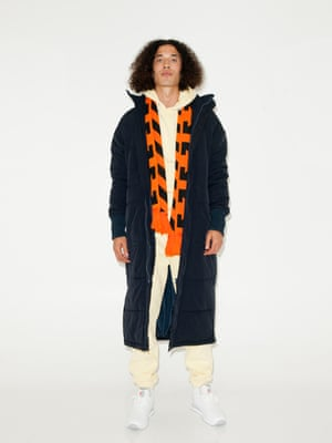 pale yellow hoodie and trousers Soul Land, white trainers Reebok, orange and black geometric print scarf, Off White from End clothing