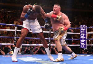 Andy Ruiz Jr lands a right on Anthony Joshua during is shock victory at Madison Square Garden