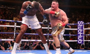 Andy Ruiz Jr (right) lands a punch on Anthony Joshua at Madison Square Garden in June.