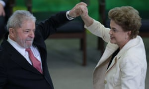 Lula and Rousseff at the presidential palace on Thursday.