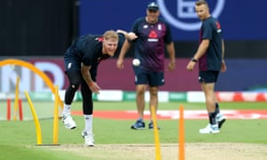 England's Ben Stokes bowls during a net session before the World Cup semi-final at Edgbaston.