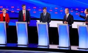 Elizabeth Warren, Beto O'Rourke, John Hickenlooper, John Delaney and Steve Bullock on the first night of the second 2020 Democratic presidential debate in Detroit, Michigan, on 30 July 2019.