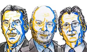 Jean-Pierre Sauvage, Sir J. Fraser Stoddart and Bernard L. Feringa, winners of the 2016 Nobel prize in chemistry.