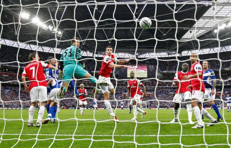 Nikola Zigic scores for Birmingham City against Arsenal at Wembley.