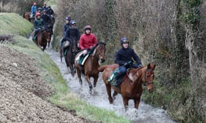 David Casey on Yorkhill (front) during the visit to Willie Mullins' stables in Closutton, Ireland.