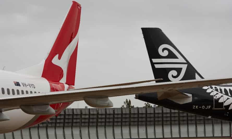 Qantas and Air New Zealand planes at Sydney airport