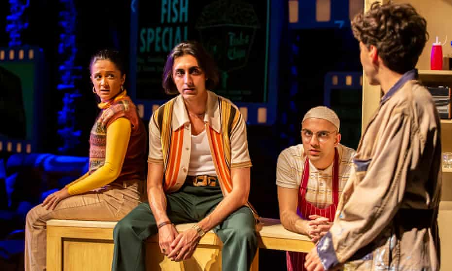 Amy-Leigh Hickman, Gurjeet Singh, Joeravar Sangha and Adonis Jenieco in East Is East at Birmingham Repertory theatre, directed by Iqbal Khan with costumes by Susan Kulkarni.