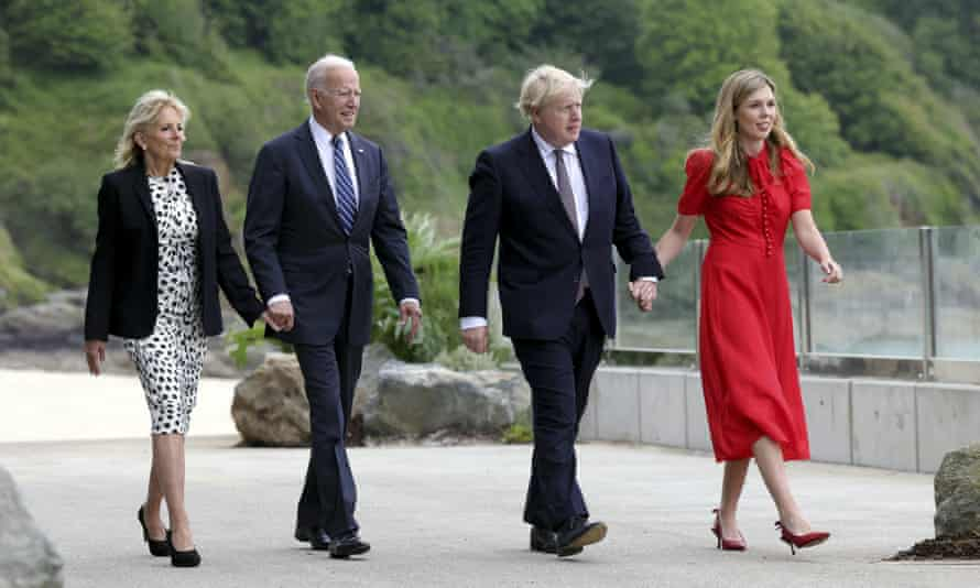 Boris Johnson and his wife, Carrie Johnson, with Joe Biden and the first lady, Jill Biden, in Carbis Bay, Cornwall
