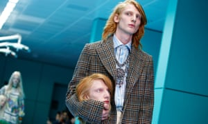 Model presents a creation from the Gucci Autumn/Winter 2018 collection during Milan Fashion Week.