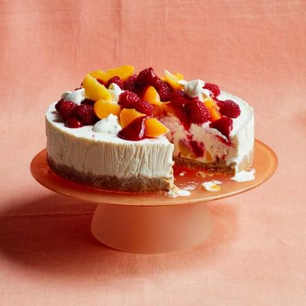 Liam Charles' peach melba frozen cheesecake.