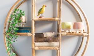 Bohus round cane wall shelf, £105, from Ian Snow