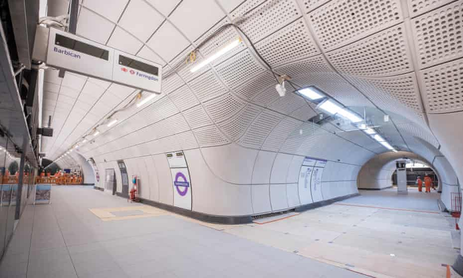 platform at Farringdon station on the Elizabeth line of the Crossrail project