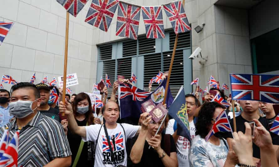 Anti-government protesters in Hong Kongcall on the British government to declare the Sino-British Joint Declaration of 1997 invalid.