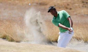 Tony Finau hits out of a bunker on the 2nd