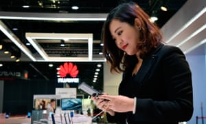 The Huawei stand at the this year's CES consumer electronics show in Las Vegas.
