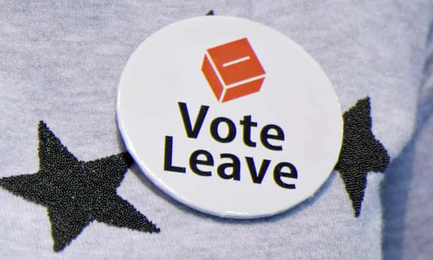 A campaigner wearing a Vote Leave badge ahead of the referendum on 23 June 2016