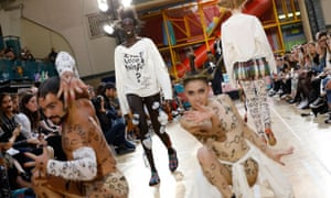 Models on the runway at the Vivienne Westwood show