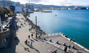 Member of the public enjoy walking along Wellington's Waterfront near Frank Kits Park on 17 May 2020 in Wellington, New Zealand.