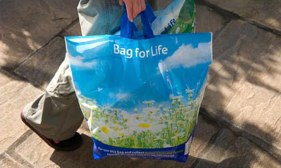 A reusable plastic shopping bag