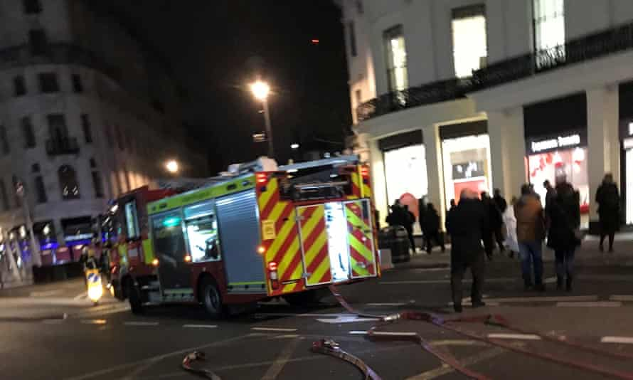 A fire engine attends the scene of the gas leak near Charing Cross.