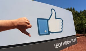 Facebook thumbs-up sign at its Silicon Valley HQ