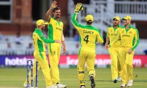 Mitchel Starc celebrates the wicket of New Zealand's Lockie Ferguson.