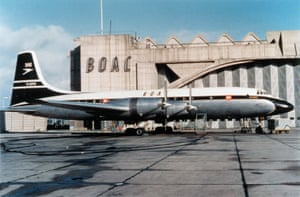 Fifteen years before BEA and BOAC merged to form BAs, BOAC Bristol Britannia 312 G-AOVG is seen here in front of the BOAC headquarters