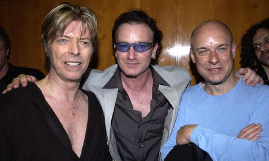 Eno with David Bowie and Bono