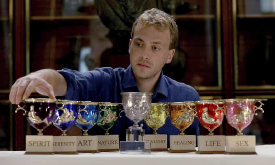 Hal Messel with his Pride cups and, centre, the Warren Cup