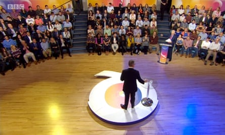 Michael Gove, David Dimbleby and a studio audience pictured during Question Time EU Special: The Case for Leave