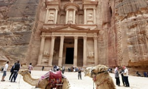 Tourists outside the ancient treasury at Petra in 2015. Jordanian authorities are developing plans to market Petra as a safe destination in a post-Covid world.