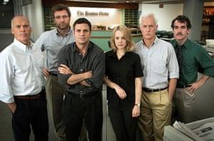 Michael Keanton, Liev Schreiber, Mark Ruffalo, Rachel McAdams, John Slattery and Brian D'Arcy in 2015's 'Spotlight'.