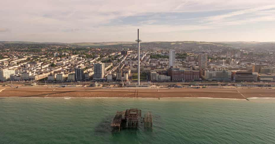 A drone image of the British Airways i360 on the Brighton seafront.