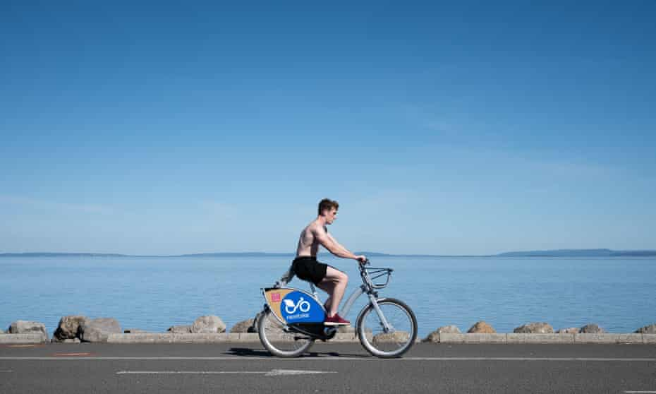 On the Cardiff Bay trail.  The city has been declared the most bike friendly city in the UK.